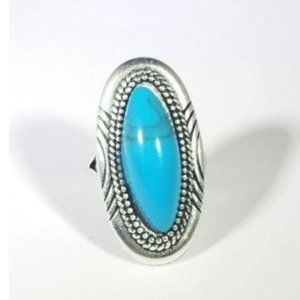 Jewelry - Faux Turquoise Silver Tone Long Oblong Ring 9